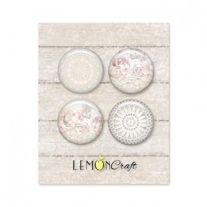 Zestaw samoprzylepnych ozdób / buttonów - Linen Story - Lemoncraft - LEM-LINSTO04