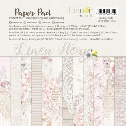 Bloczek papierów do scrapbookingu 15x15cm - Linen Story - Lemoncraft