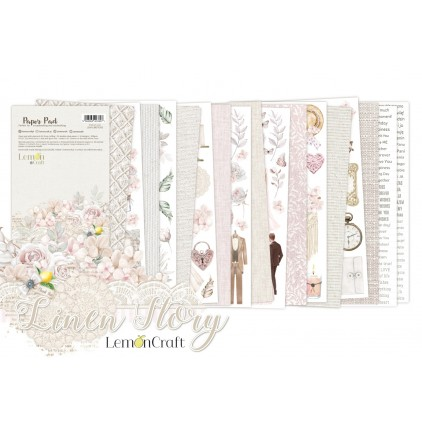 Pad scrapbooking papers for fussy cutting - 15x30.5cm - Linen Story - Lemoncraft