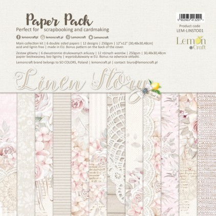 Linen Story - Lemoncraft - Zestaw papierów do scrapbookingu 30x30cm