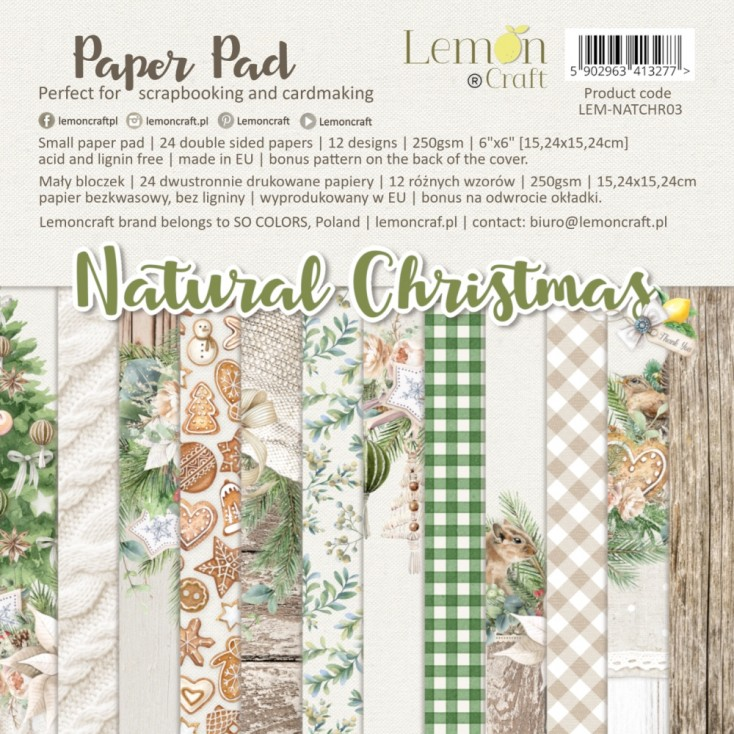 Pad scrapbooking papers 15x15cm - Natural Christmas - Lemoncraft
