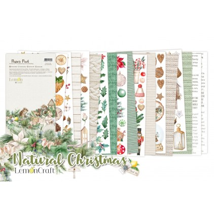 Pad scrapbooking papers 15x30.5cm - Natural Christmas Elements for fussy cutting - Lemoncraft