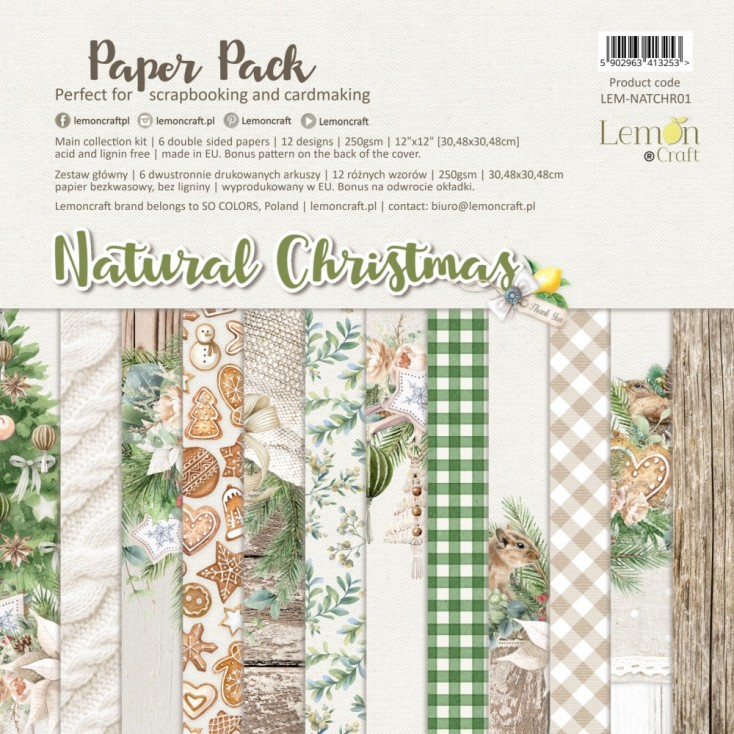Natural Christmas - Lemoncraft - Set of scrapbooking papers 30x30cm