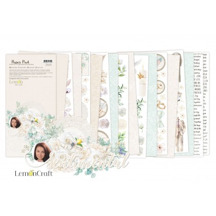 Pad scrapbooking papers 15x30.5cm - Sentimental Elements for fussy cutting - Lemoncraft
