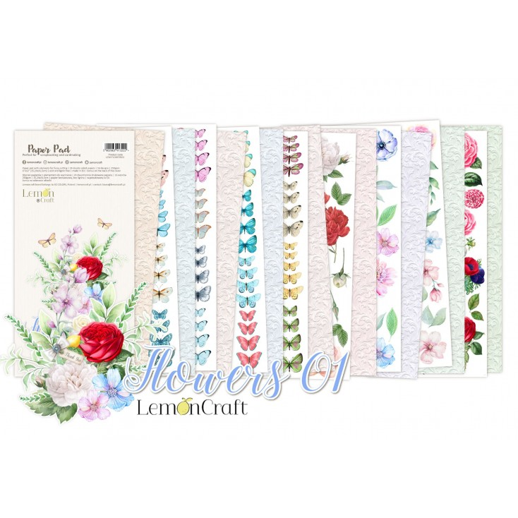 Pad scrapbooking papers 15x30.5cm - Yesterday Tomorrow for fussy cutting - Lemoncraft