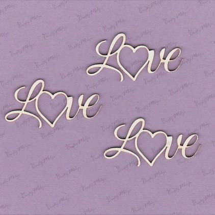 Crafty Moly - Tekturka - napis - Love - 3 szt