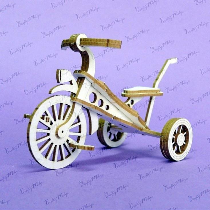 Crafty Moly - Cardboard element - Three-wheeled bike 3d