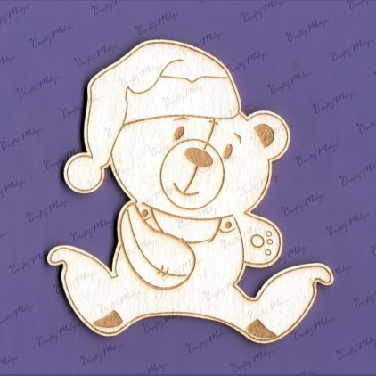 985 - laser cut, chipboard - Teddy bear sleepyhead - Crafty Moly