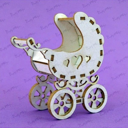 cardboard element baby carriage 3d - Crafty Moly 741