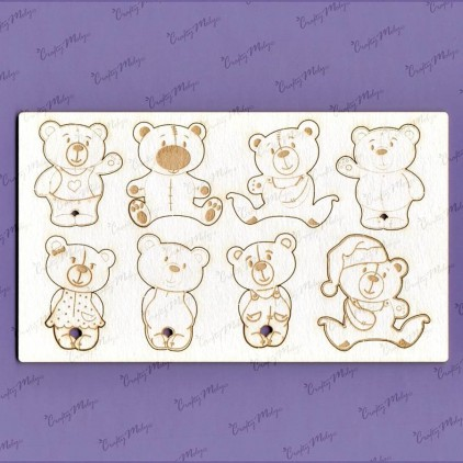 982 laser cut, chipboard - Teddy bear family - Crafty Moly