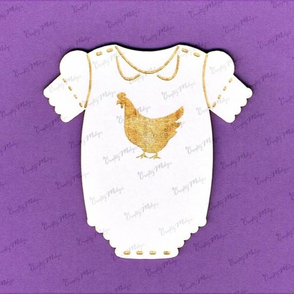 861 laser cut, chipboard - Baby body with cockerel- Crafty Moly