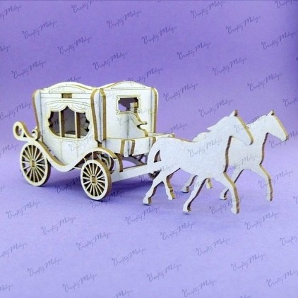 Carriage 3d, mini - laser cut, chipboard - Crafty Moly 1079