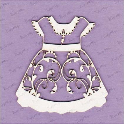 647D laser cut, chipboard Large dress - front - Crafty Moly