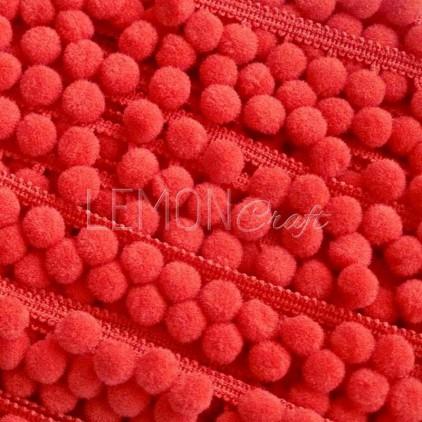 Taśma z pomponikami - czerwona