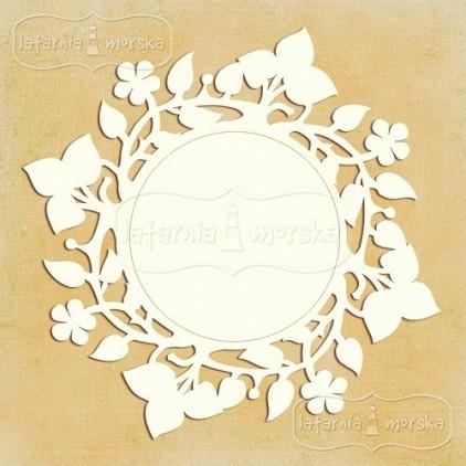 Latarnia Morska - Chipboard - Round floral frame - 11 cm