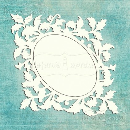 Latarnia Morska - Chipboard - Ornamental leaves frame L (15cm )