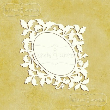 Latarnia Morska - Chipboard - Ornamental leaves frame S (9cm) 2pcs
