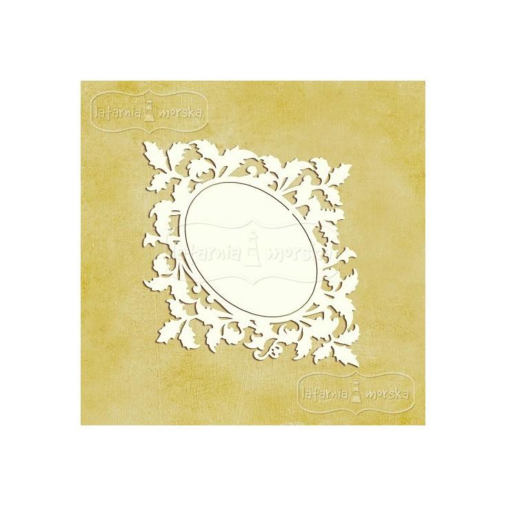 Latarnia Morska - Chipboard - Ornamental leaves frame S (9cm) 2pcs