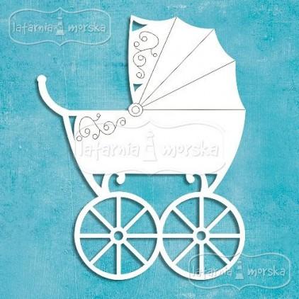Latarnia Morska - Chipboard - Retro baby carriage
