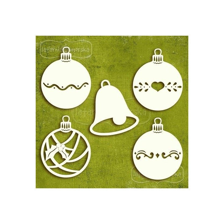 Latarnia Morska - Tekturka - Bożonarodzeniowe bombki (4 sztuki) i dzwoneczek