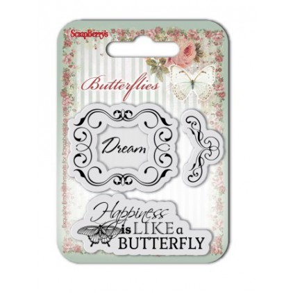 Scrapberry's - Set of clear rubber stamps - Butterflies No. 2
