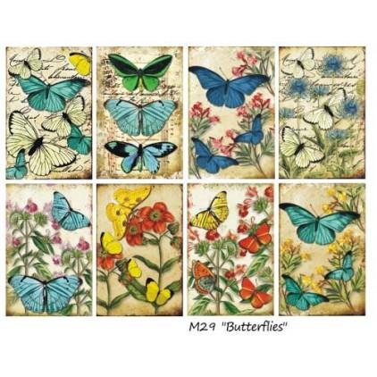 Decorer - Zestaw mini papierów do scrapbookingu - Motyle