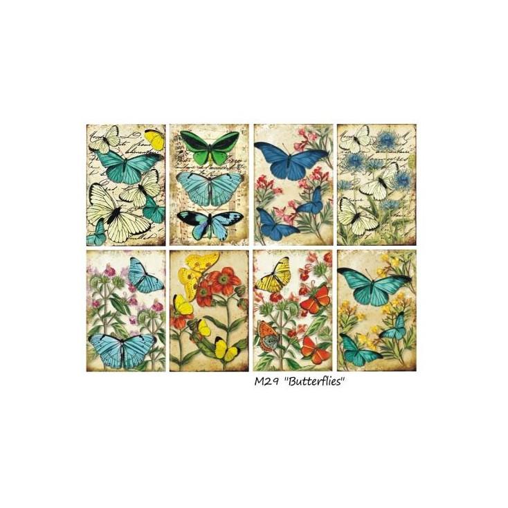 Decorer - Set of mini scrapbooking papers - Butterflies