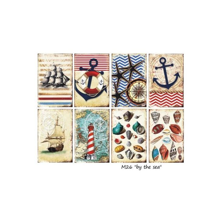 Decorer - Zestaw mini papierów do scrapbookingu - Nad morzem