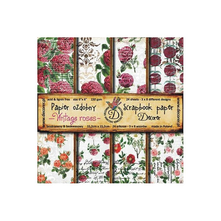 Decorer - Set of scrapbooking papers - Vintage roses