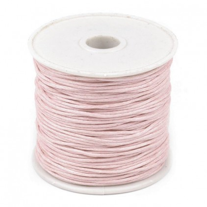 Cotton Waxed Cord - pearl pink - Ø1mm - one spool