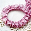 Ruffled - checkered trim - pink