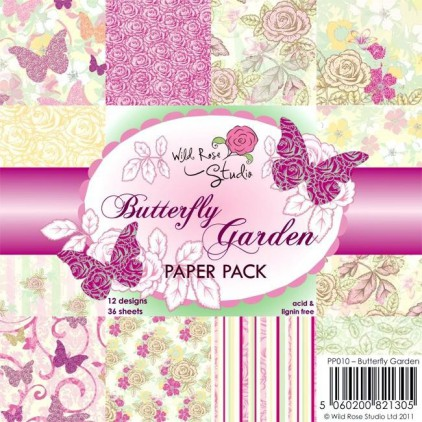 Wild Rose Studio - Pad of scrapbooking papers - Butterfly Garden