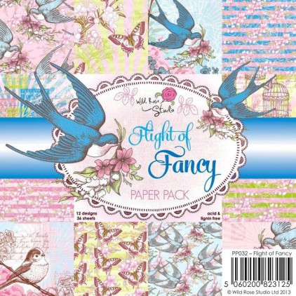 Wild Rose Studio - Mały bloczek papierów do scrapbookingu - Flight of Fancy