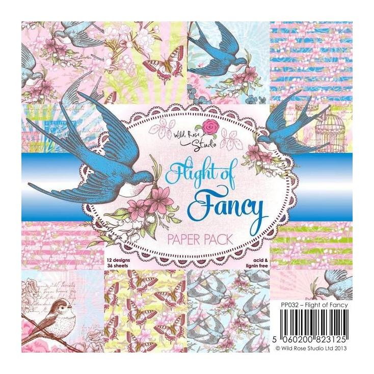 Wild Rose Studio - Mały bloczek papierów do scrapbookingu - Flight of Fancy