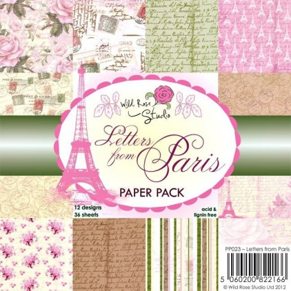 Wild Rose Studio - Pad of scrapbooking papers - Letters from Paris