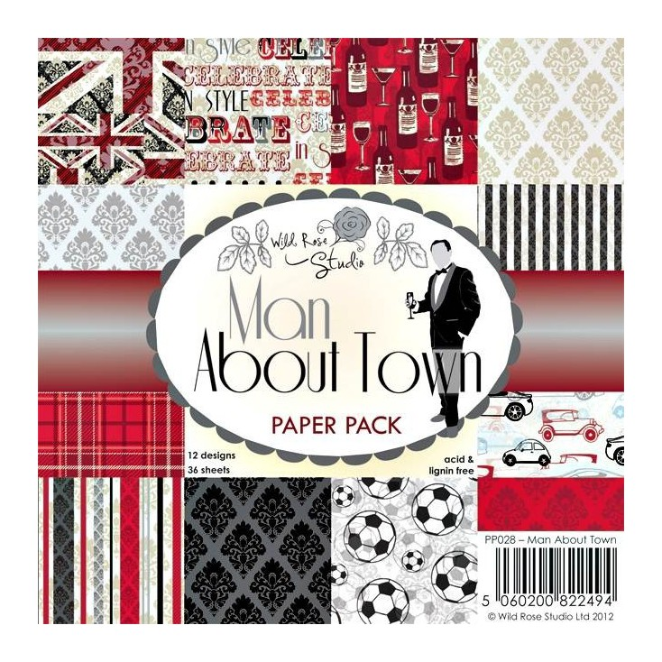 Wild Rose Studio - Pad of scrapbooking papers - Man About Town