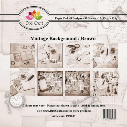Dixi Craft - Pad of scrapbooking papers - Vintage Background - Brown
