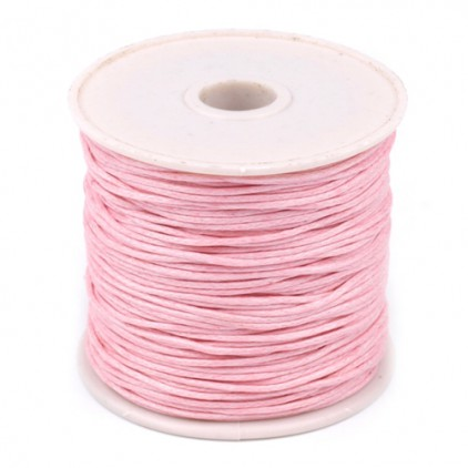 Cotton Waxed Cord - Ø1mm - one spool - baby pink