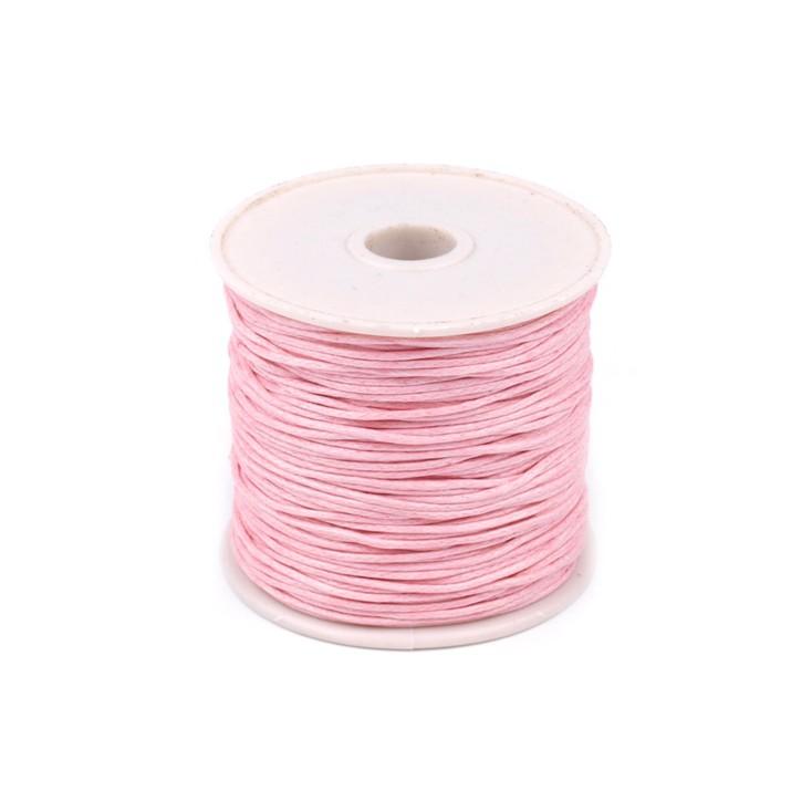 Sznurek woskowany - Ø1mm - szpula - dziecięcy róż