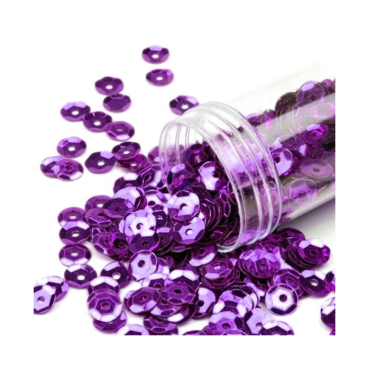 Cupped sequins in a jar - violet