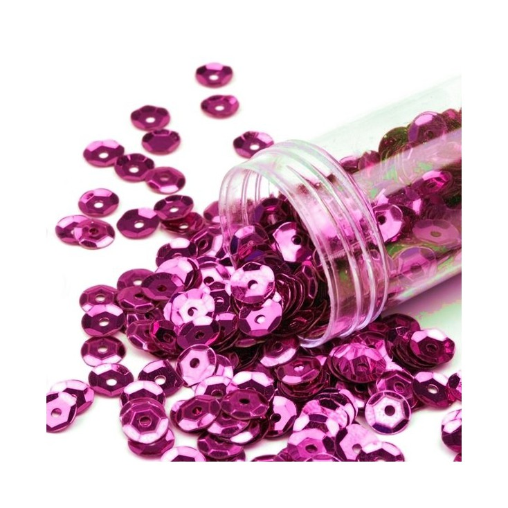 Cupped sequins  in a jar - fuchsia
