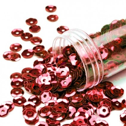 Cupped sequins in a jar - red
