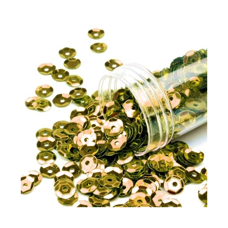 Cupped sequins in a jar - gold
