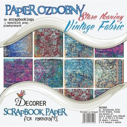 Decorer - Stack of scrapbooking papers - Vintage Fabric