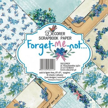 Set of scrapbooking papers - Decorer - Forget-me-not