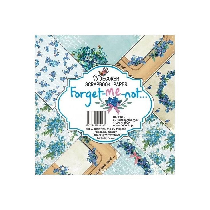 Decorer - Set of scrapbooking papers - Forget-me-not