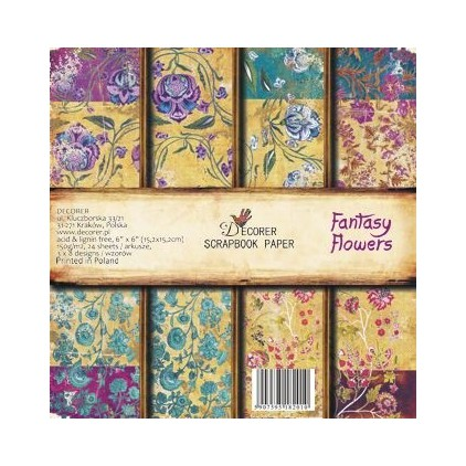 Decorer - Pad of scrapbooking papers - Fantasy Flowers