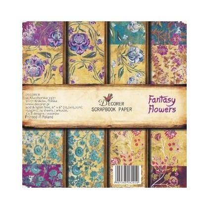 Decorer - Zestaw papierów do scrapbookingu - Fantasy Flowers