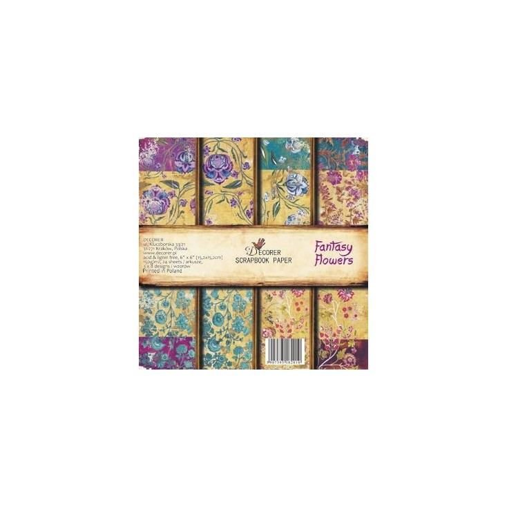 Decorer - Set of scrapbooking papers - Fantasy Flowers