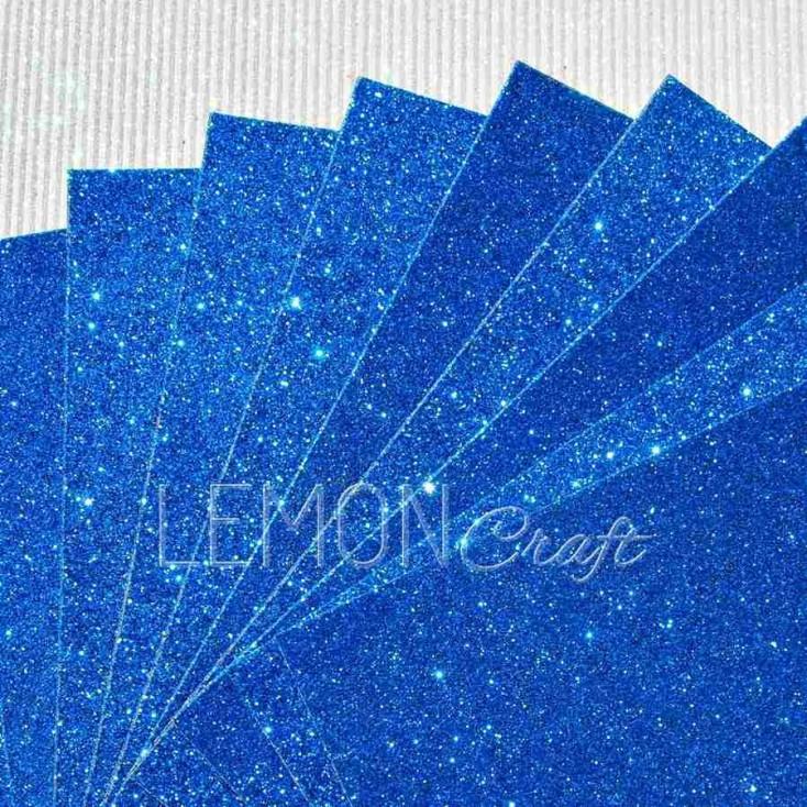 Karton brokatowy - niebieski